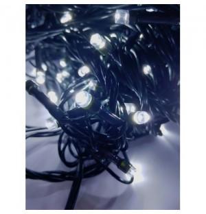 LED Vianočná svetelná reťaz FLASH, 100xLED, studená biela + studená biela, 8m, 230V, IP44 exteriér